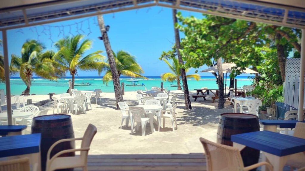 view of the Barbados beach from inside the bar