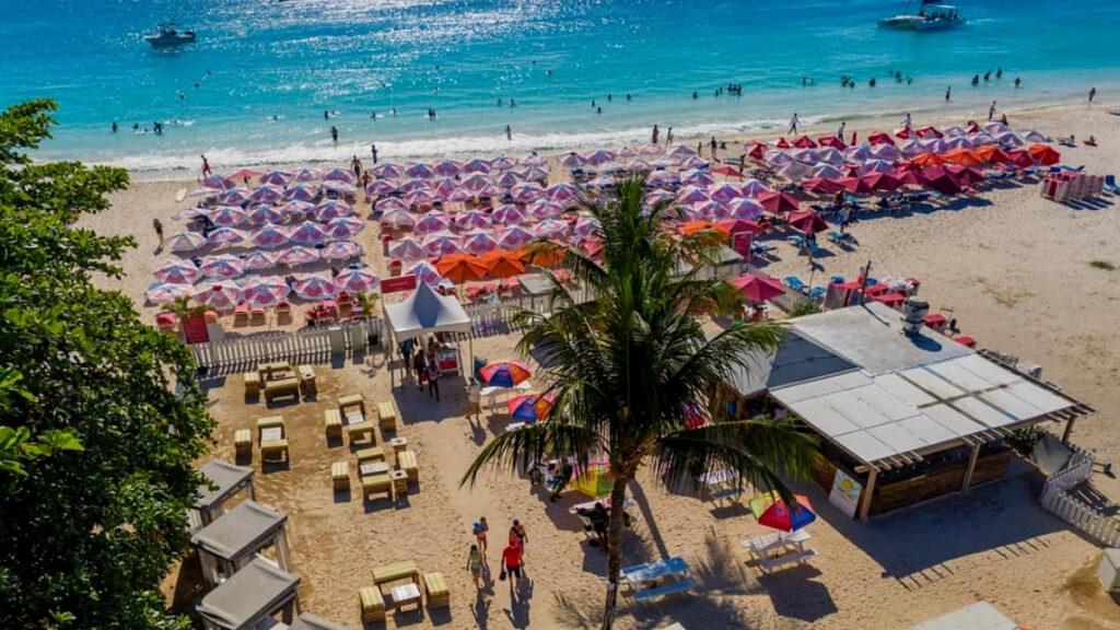 aerial view of the beach bar
