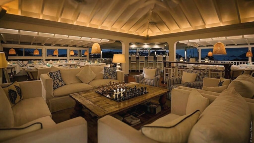 Comfy couches inside restaurant in St. Barts