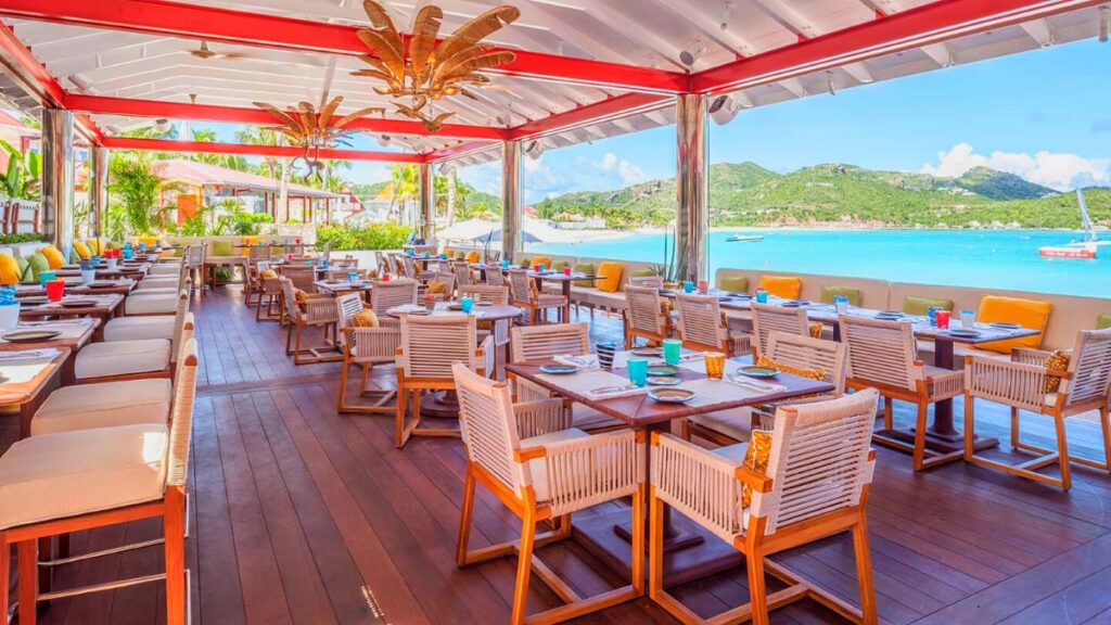 Restaurant patio in St. Barts overlooking the sea