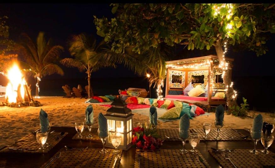 necker island beach at night