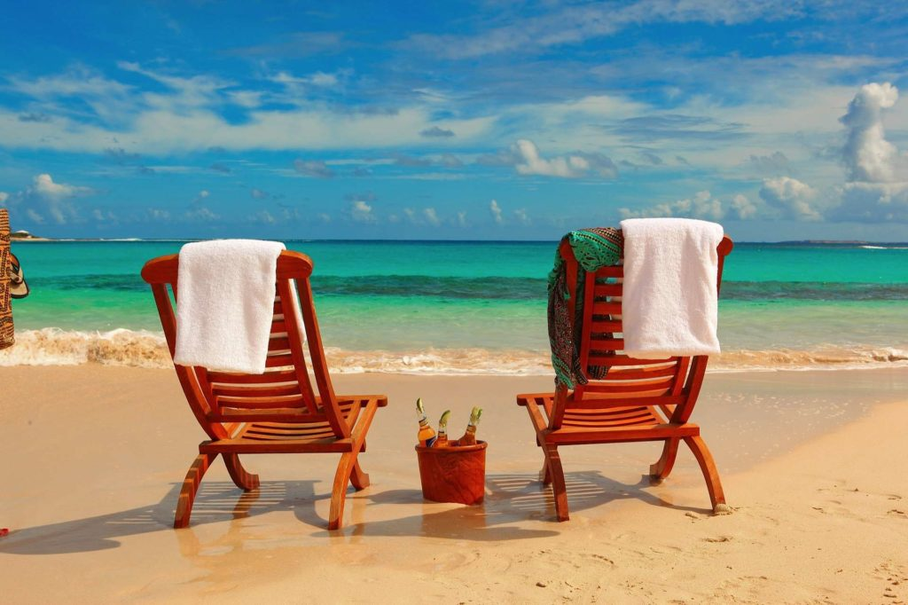 Two chairs on beach in Anguilla