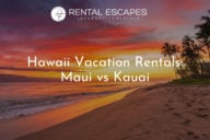 Hawaii Vacation Rentals: Maui vs Kauai - Island sunset on a beach lined with palm trees