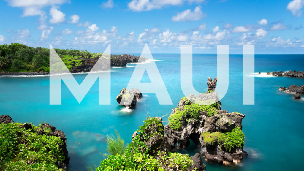 Maui Weather - Crystal blue water with small islands covered in lush greenery