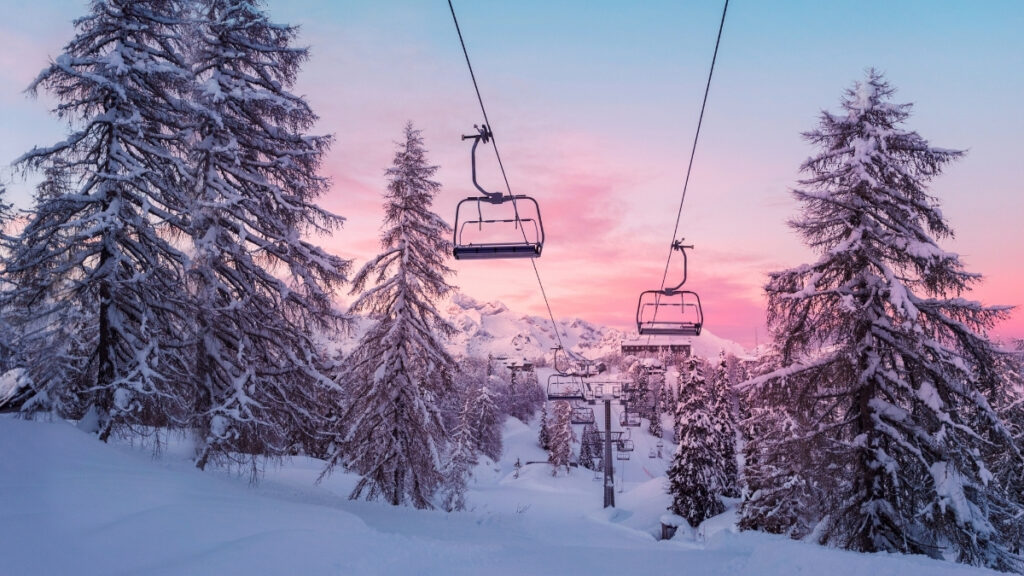 Ski Lift with sunset
