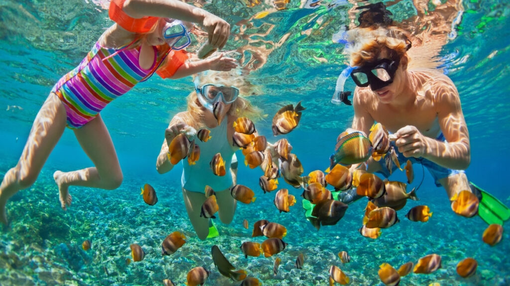 Family snorkeling with exotic fish