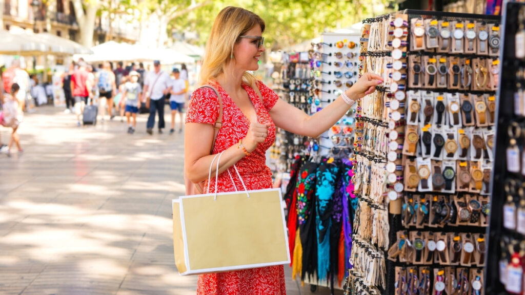 Woman shopping for souvenirs