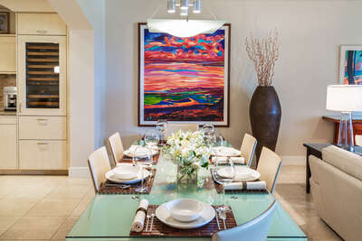 Indoor Dining Table Expands to Seat Six to Eight