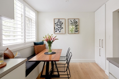 the light filled dining area in the kitchen