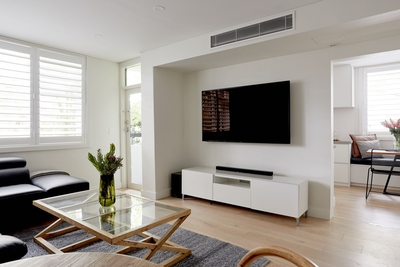 the spacious living room