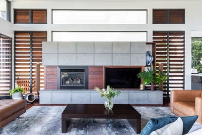 the stunning contrast between timber & concrete