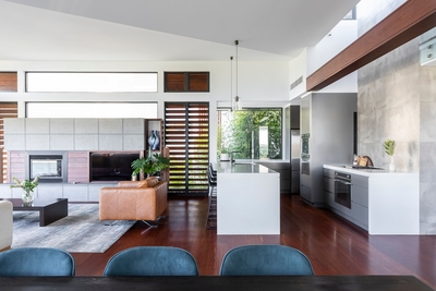 the open plan dining / kitchen / living area