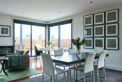 light filled dining and living space