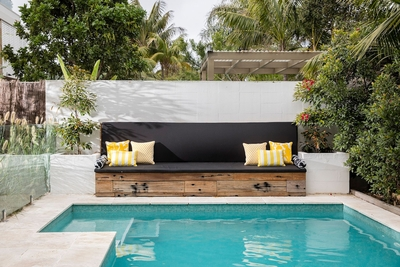 the shimmering outdoor heated swimming pool