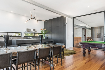 the spacious open plan living/dining area